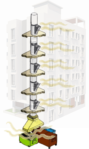 Illustration of air movement and smell in condos